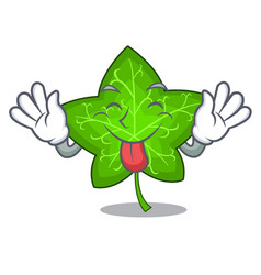 tongue out mascot cartoon beautiful ivy leaf plant vector image