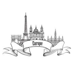 Travel europe label famous landmark buildings vector