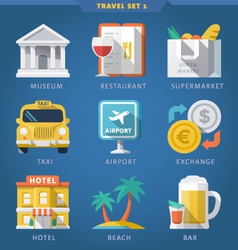 Travel icon set 1 vector image