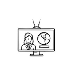 tv report hand drawn outline doodle icon vector image