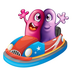 Two monsters riding a car vector