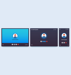 video call interface web chat ui screen mockup vector image