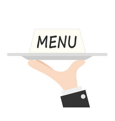 waiter tray and card menu with hand stock vector image