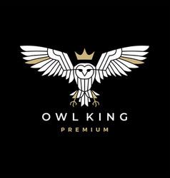 white owl king crown logo icon vector image