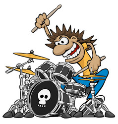 wild drummer playing drum set cartoon vector image