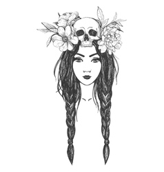 Woman with skull flowers tattoo art vector