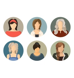 Women circle avatar icon set vector