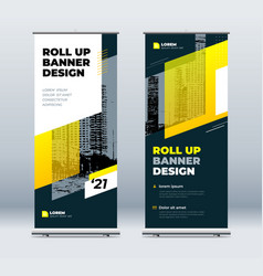 Yellow business roll up banner abstract roll up vector