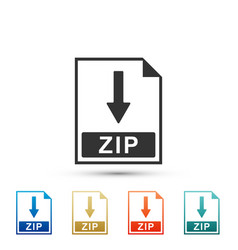Zip file document icon download zip button icon vector