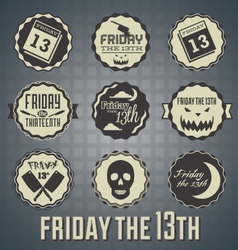 Friday The 13th Labels and Icons vector image vector image