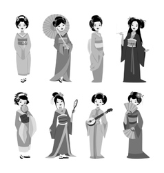 japanese geisha girl vector image