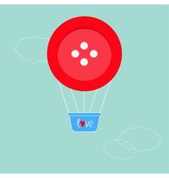 Big red button hot air balloon dash line clouds fl vector