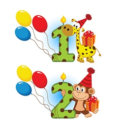 first second birthday with animal vector image