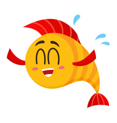 funny happy golden yellow fish character with vector image
