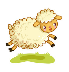 lamb plays in the meadow vector image
