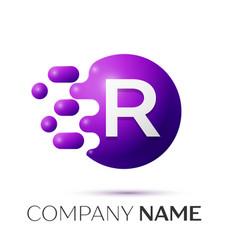 R letter splash logo purple dots circle bubble vector