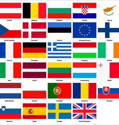 All flags of the countries of the european union vector