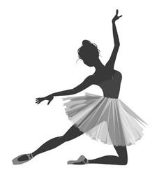 ballerina girl silhouette isolated on white vector image