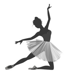 ballerina girl silhouette isolated on white vector image vector image