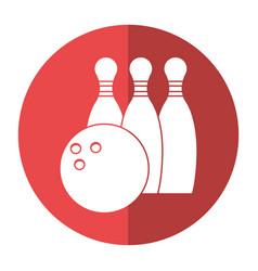 bowling ball pin sport shadow vector image