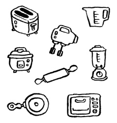 doodle series kitchenappliance vector image vector image