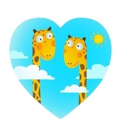 Fun cartoon baby giraffe animals in love for kids vector