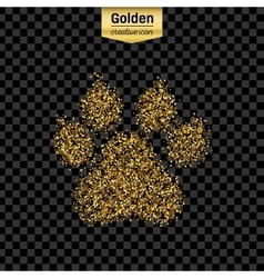 Gold glitter icon of animal footprint vector image vector image