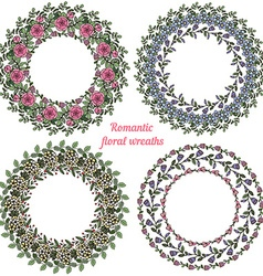 Hand drawn floral frames Circle natural wreaths vector image vector image