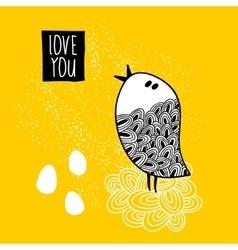 Cute doodle bird print vector image