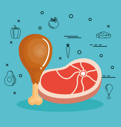 food with proteins design vector image