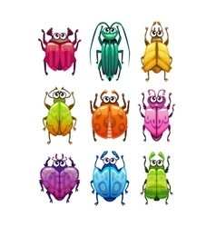 Funny cartoon fantasy bugs set vector image