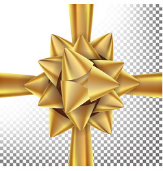 gift bow bright gold ribbon isolated on vector image