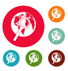 magnifier on earth icons circle set vector image vector image