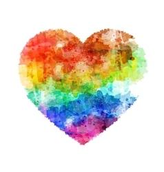 rainbow six color watercolor heart vector image