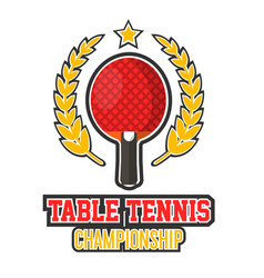 table tennis championship logo vector image vector image