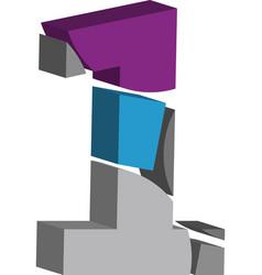 3d font number 1 vector image