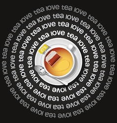 a cup of heart in tea with tea bag vector image