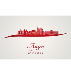 Angers skyline in red vector image