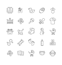 Baby icons toys feeding and care vector