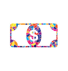 Bank note dollar sign stained glass icon vector