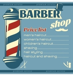 Barbershop Price List Template vector image