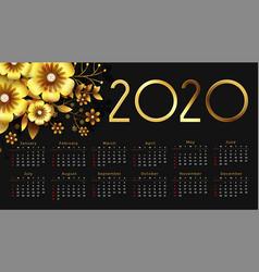 Beautiful 2020 golden flower happy new year vector