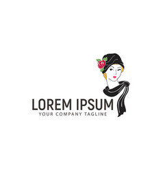 beauty woman logo design concept template vector image