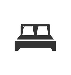 bed icon in flat style sleep bedroom on white vector image