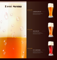 Beer menu flyer template with realistic glasses of vector