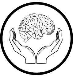 brain in hands icon vector image