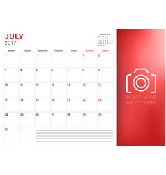 Calendar planner template for july 2017 week vector