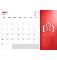 Calendar planner template for july 2017 week vector