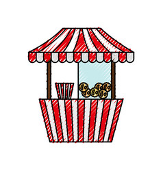 Carnival fast food cart with pop corn vector