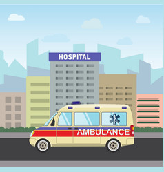 city hospital building with ambulance flat design vector image